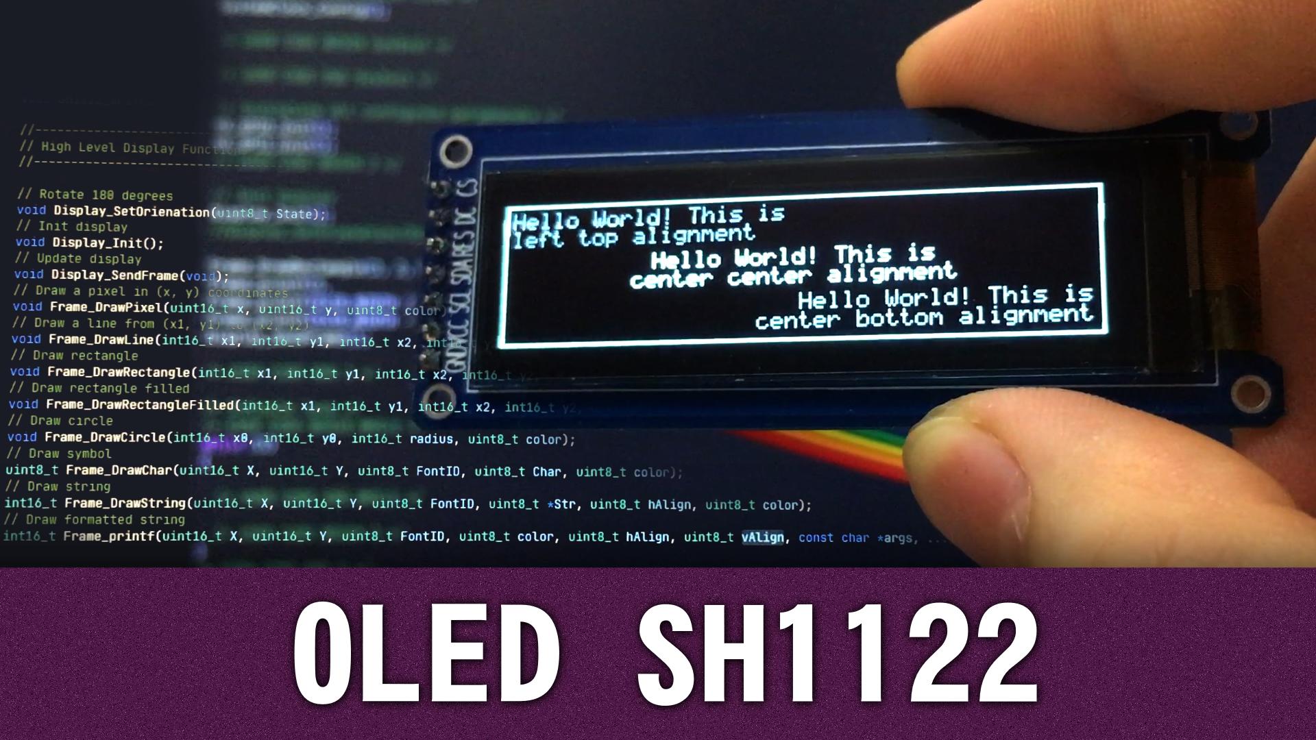 OLED дисплей на контроллере SH1122 - STM32 HAL драйвер