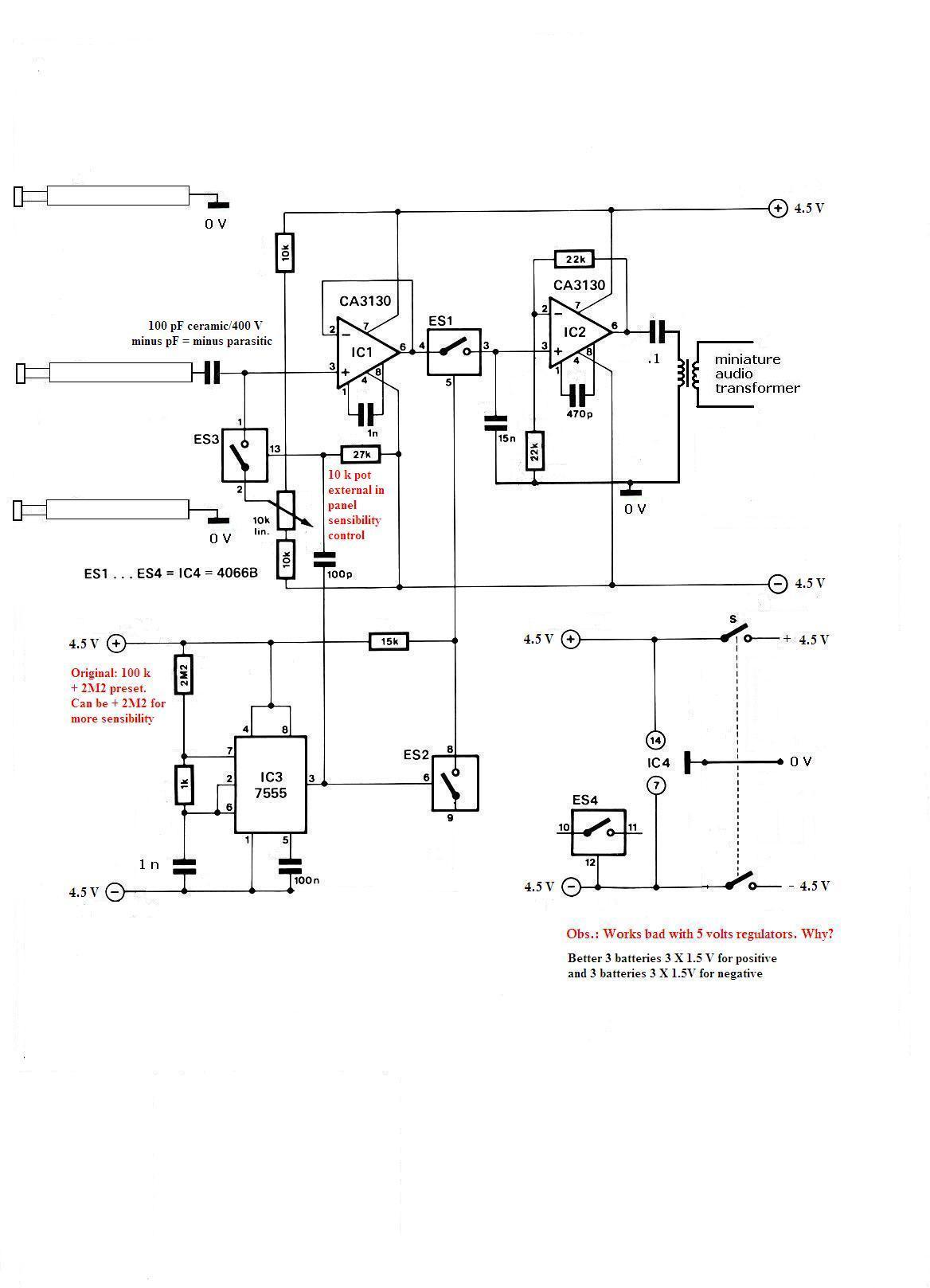 Схема индикатора электромагнитного поля