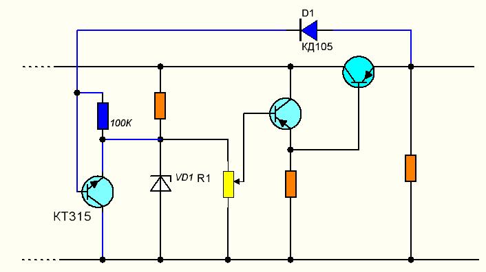 Защита транзистора от к.з схема
