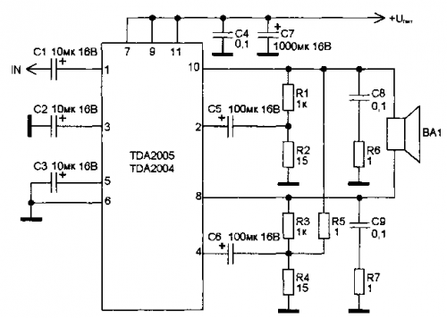 tda2005 усилитель - Исскуство схемотехники.