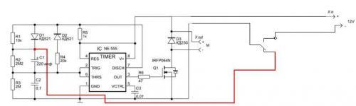 ...схема устройства плавного включения электродвигателя постоянного тока.
