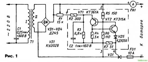 ...выполненное на основе тринисторного фазоимпульсного регулятора мощности Оно позволяет заряжать автомобильные...