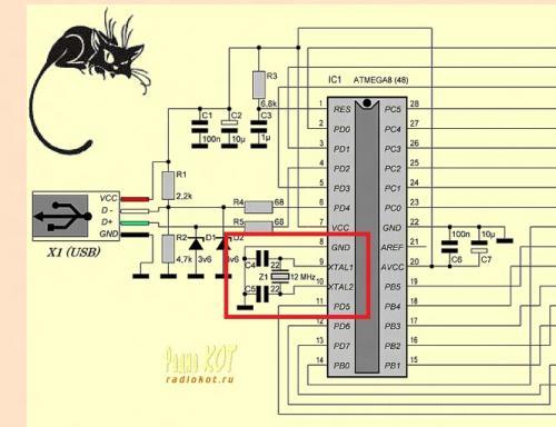 И внимательно посмотрите что подключенно к PD4 (6 выв. оригинальной схемы. где к PD4 подключен светодиод?