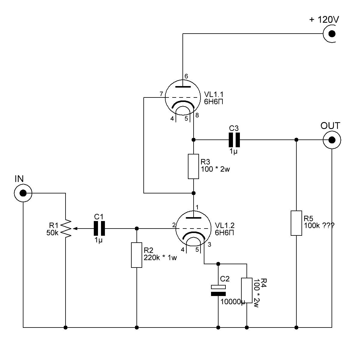 Схема включения лампы 6н30п