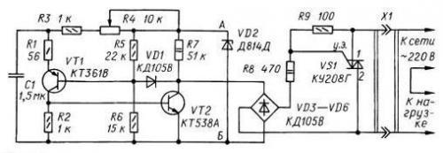 Рис. 1. Фазоимпульсные регуляторы мощности с мощным симистором в качестве переключательного элемента отличают более...