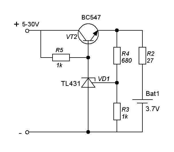 Зарядное устройство литиевого аккумулятора схема