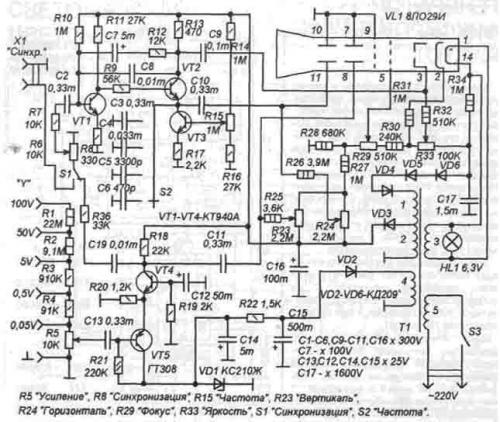 схем простых осциллографов