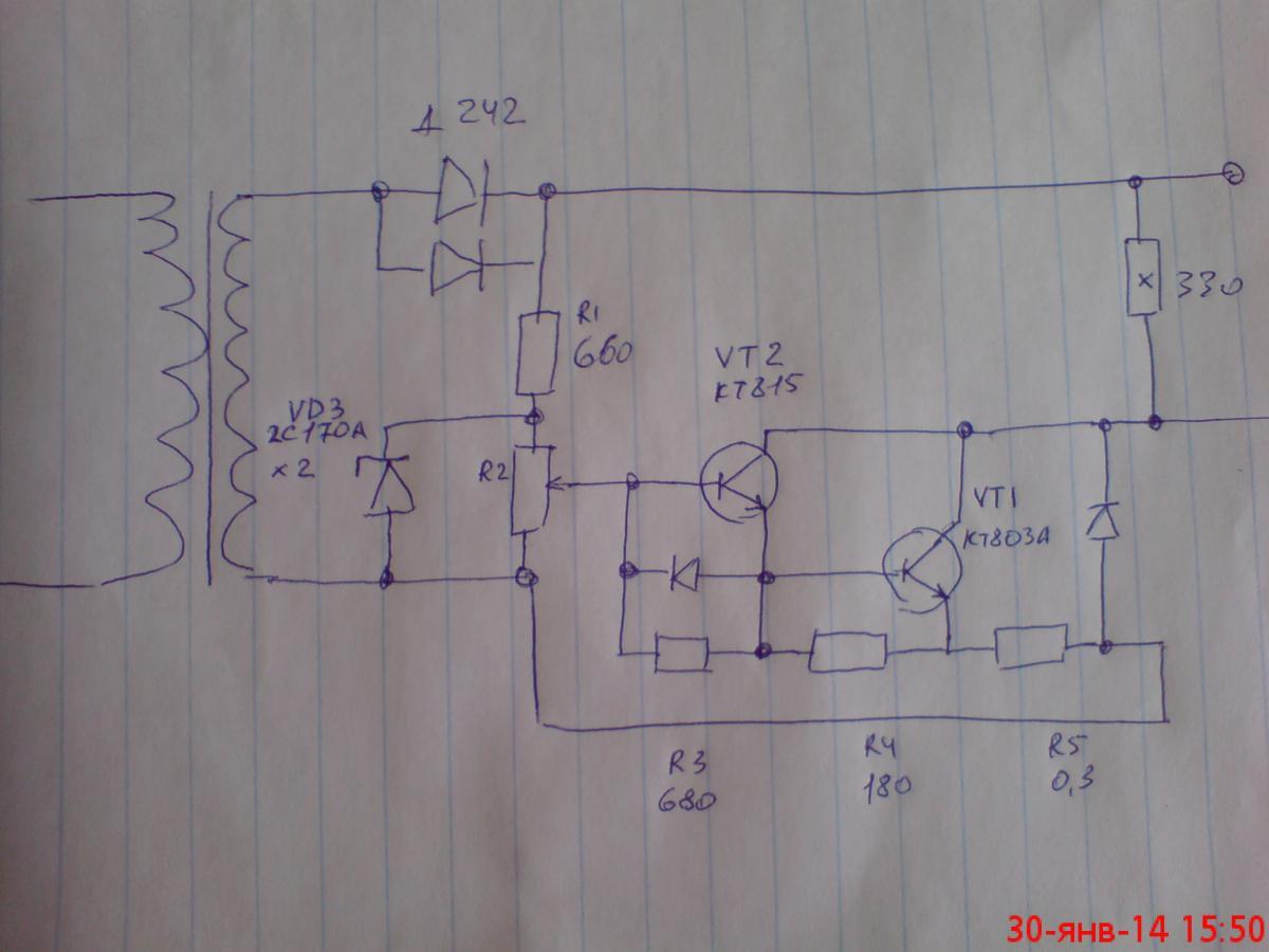 Схема зарядного на транзисторах