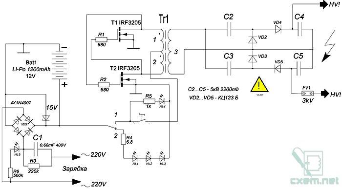 Схема электрошокера картинка