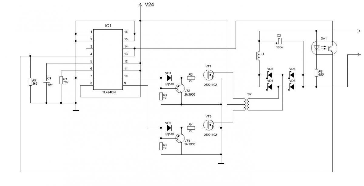 Схема преобразователя 12в на tl494