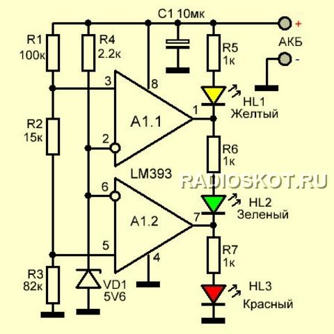 Индикатор напряжения на светодиоде своими руками
