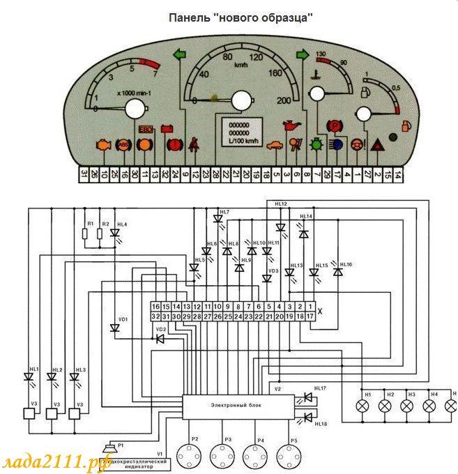 Схема электрических соединений кондиционирования и Схема на панель приборов на приору