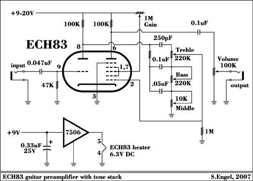 Гитарный ламповый преамп схема