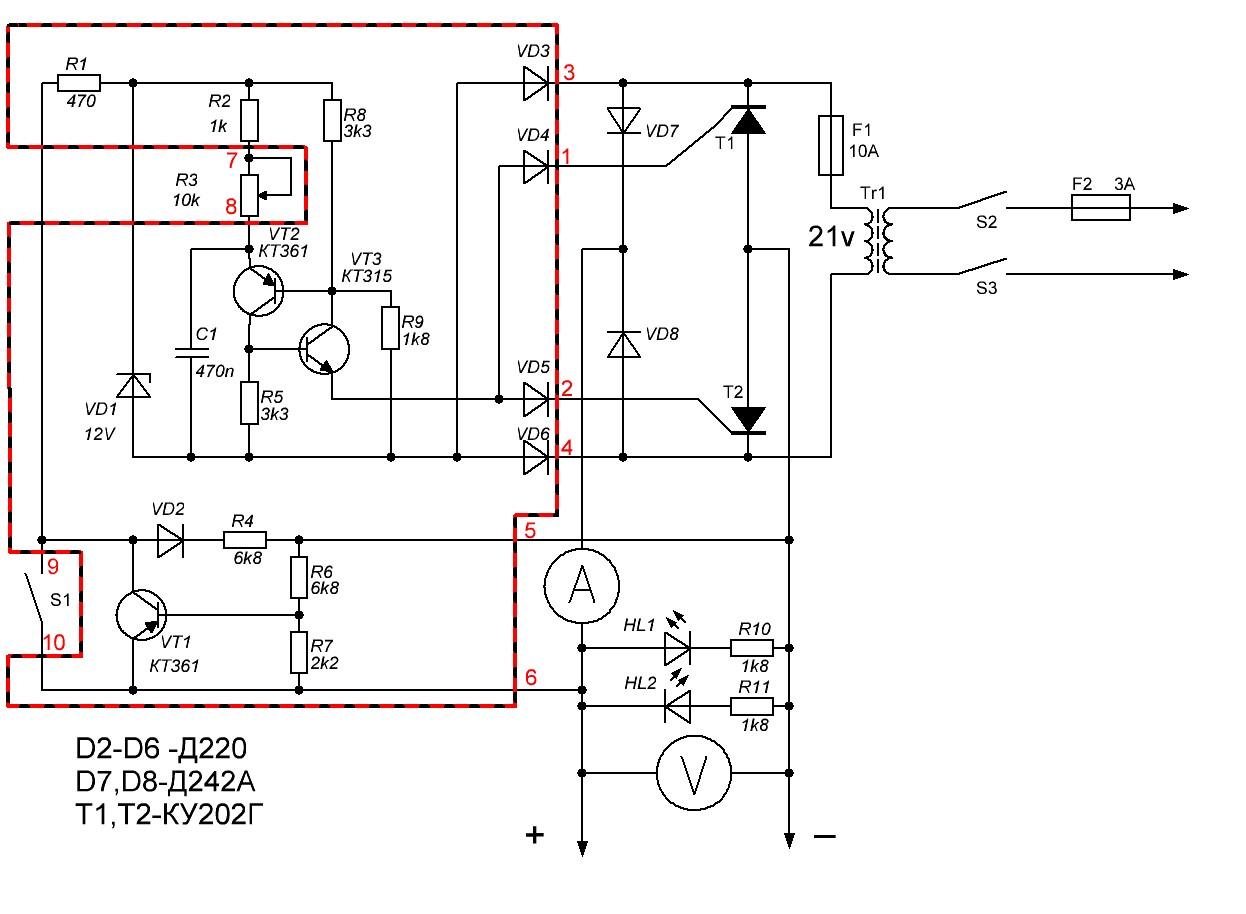 Схема аккумуляторного автомобильного зарядного устройства