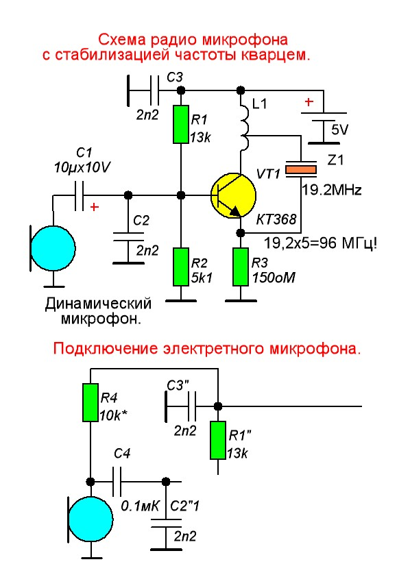 Радиомикрофон с кварцевой стабилизацией схема
