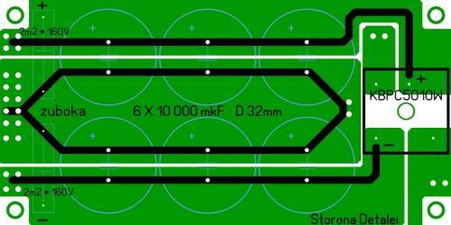 ПП для моста типа KBPC 5010 (3510). zuboka.  Для усиления дорожек используется одножильный медный провод.
