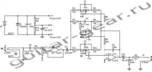 схема гитарного преампа - Практическая схемотехника.