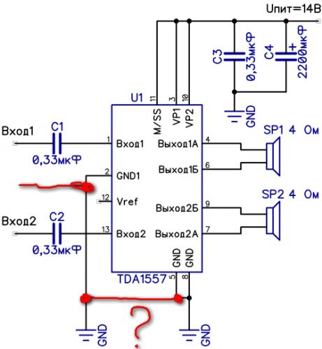 10 схема унч на микросхеме tda1557q