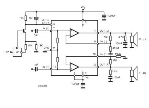 Как видно из пояснений в документации на ST TDA7265, за отключение звука и переход в...