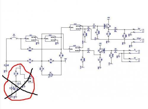Плюс подсоединяется ко всем точкам схемы с надписью +9V, минус ко всем значкам заземления GND.