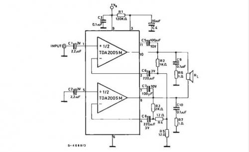 Схема моно усилителя на TDA2005 второй вариант.