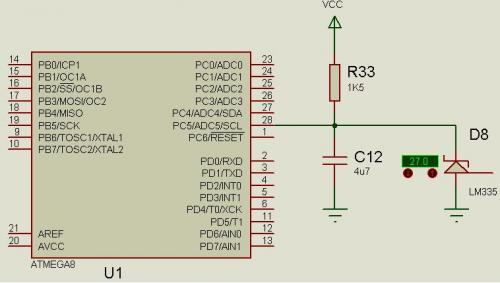 Схема подключения LM335 к SUZ.  Оба провода к датчику должны быть подключены к самой плате, желательно витой парой.