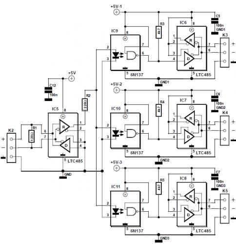 Вот схема заводского dmx сплиттера.  Оптопары есть, однако земля тоже общая.  Земля световых приборов (контакт 1...