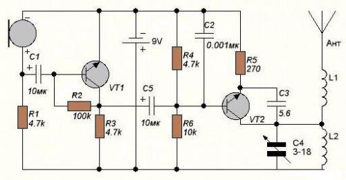 Привет вот кстати неплохая схема, для начинающего радиолюбителя.  Схема жучка проста и не требует сложной настройки.
