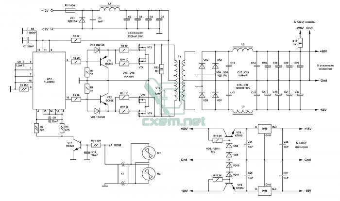 Эти импульсы усиливаются, попадают транзисторами VT1, VT2, которые являются