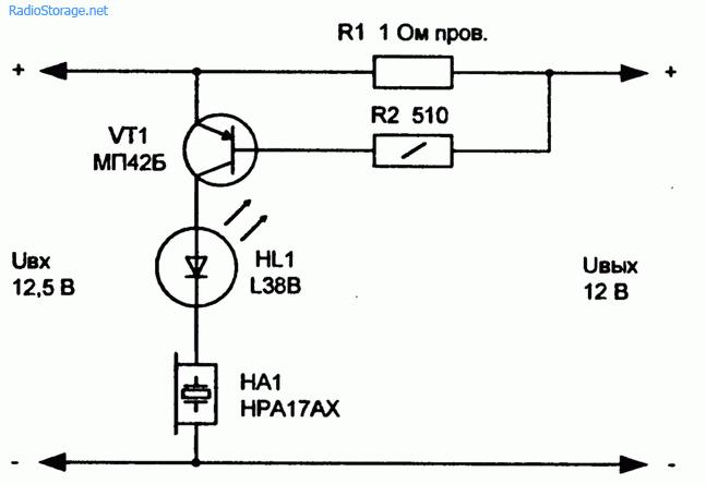 Порог включения транзистора VT1 зависит от сопротивления резисторов R1 и R2 и в данной схеме при напряжении...