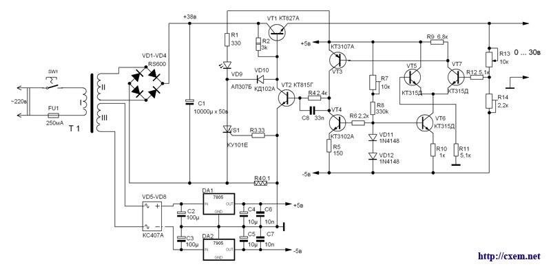 Схемы лабораторных блоков питания 0-30в 0-5а
