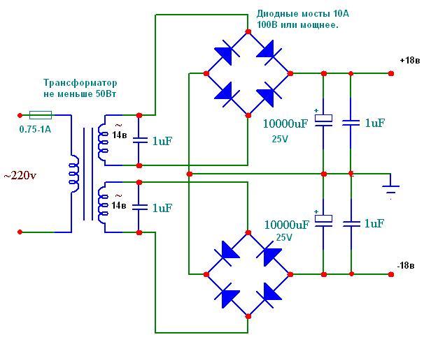 Схема подключения трансформатора в усилителе