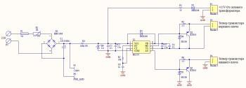 Еще одно преимущество такого подхода...  Схема (кликабельна).  Транзисторы вынесены на радиатор сверху.