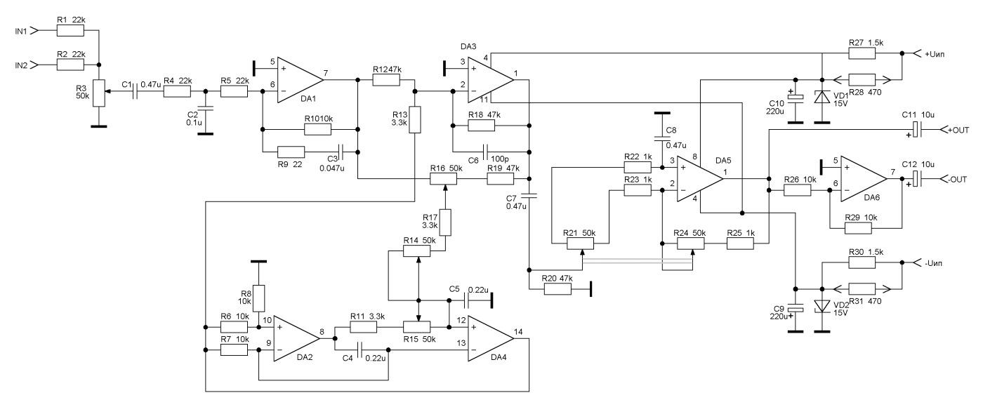 6 канальный усилитель на транзисторах схема