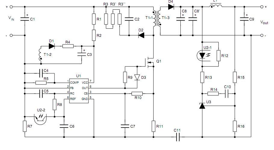 uc3845 схема регулируемого блока питания