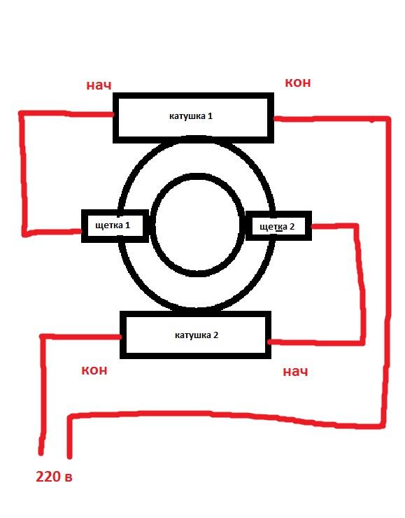 Схема подключения электродвигателя пылесоса