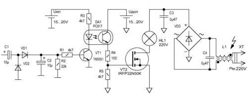 Рисунок 19 Принципиальная схема силового ключа для цветомузыки на полевом транзисторе.  Данный вариант силового ключа...