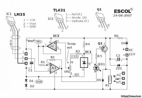 Thermostat Controller with Relay using LM35 and TL431.