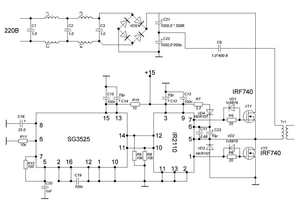 Схема включения sg3525a