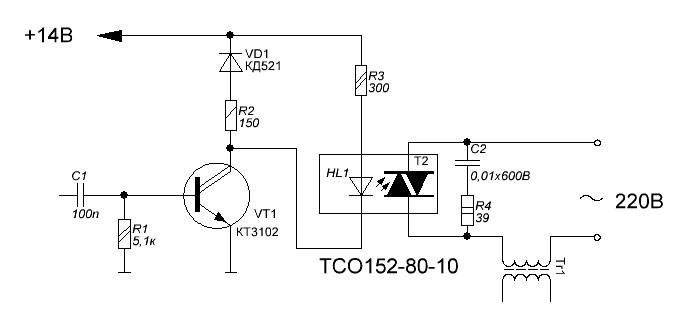 Moc3023 схем включения