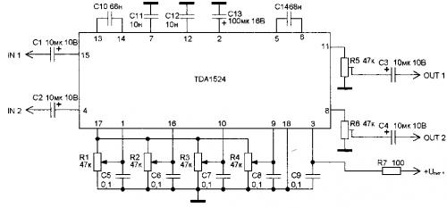Схема стерео темброблока на микросхеме TDA1524.