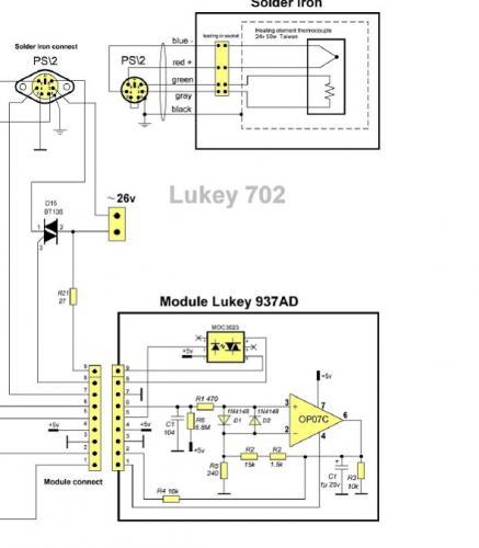 Переделка lukey 702 под паяльник hakko 907