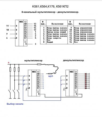 Можно представить, как два галетных переключателя на одной оси соединённые движками Схема:Работает.