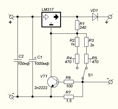 Простое зарядное устройство для гелевых герметичных аккумуляторов на LM317.