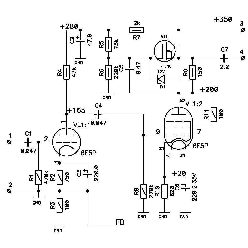 Электронные схемы лампового усилителя