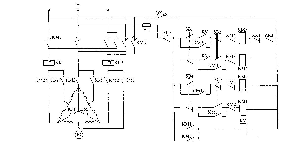 Электрическая схема трехфазного асинхронного двигателя