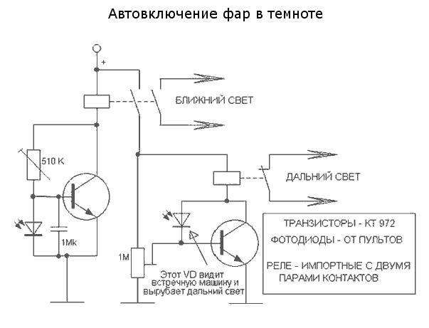 Схема подключения автоматического включения света фар