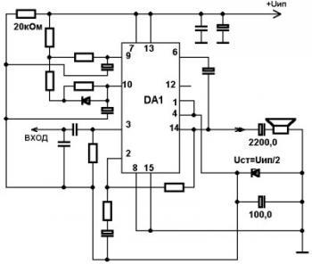 Схема включения TDA7293 от однополярного питания.