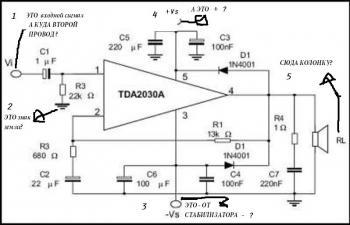 TDA2030(A) - Интегральный УНЧ, обеспечивающий большой выходной ток, низкое содержание гармоник и.