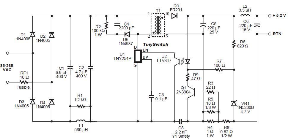 Схема для импульсного блока питания для светодиодного светильника